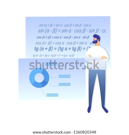 Science Work, Research Flat Vector Illustration. School Teacher Cartoon Character. Mathematician Working on Trigonometry Problem Solution. Mathematical Theorem Proof. Complex Calculation, Equation