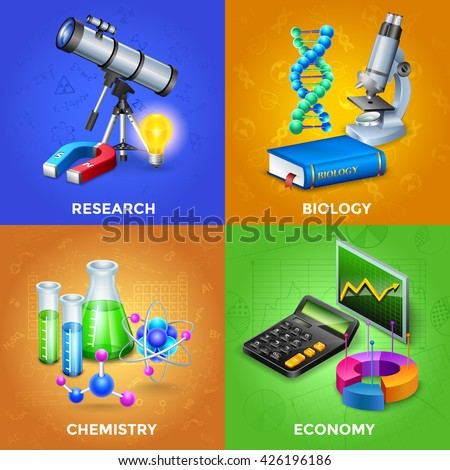 science 2x2 design concept set