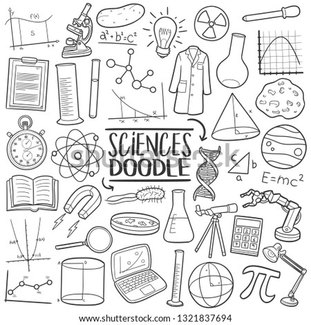 Sciences Laboratory Study. Traditional Doodle Icons. Sketch Hand Made Design Vector Art.