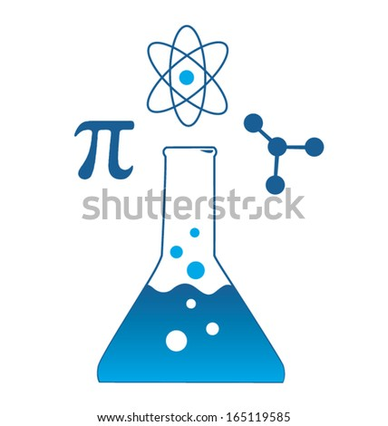 Scientific Beaker Icon with Pi Atom and Molecule Symbols