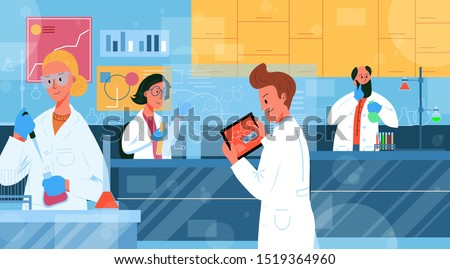 Scientific biochemistry research laboratory. Scientists men and women working in a lab making tests, using new technologies, development progress. Vector illustration pharmacology, biology research.