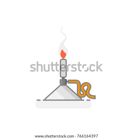 Scientific Bunsen burner -  Laboratory materials icon 10. Flat design. Vector illustration.
