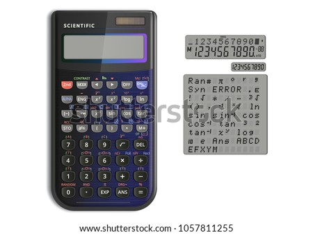 Scientific calculator with solar cell in pearlescent color. Calculator and screen symbols isolated on white background.  Vector illustration.