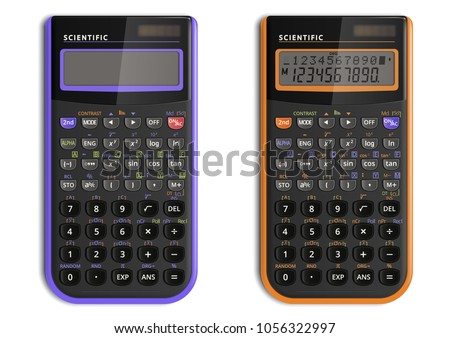 Scientific calculator with solar cell isolated on white background. It is presented in two versions: lilac one is off and second is on. Vector illustration.