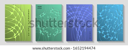 Scientific covers with neuron cells net. Medical brochure title page teplates. Microscopic grid of neurons abstract patterns. Molecular structure on nerve system biology covers set in green blue teal