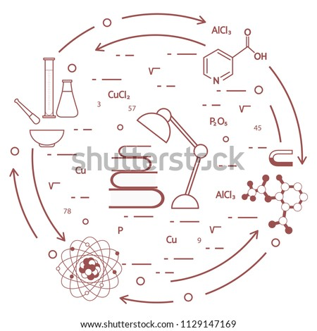 Scientific, education elements. Table lamp, books, flask, beaker, mortar, pestle, crystal lattice, molecule, magnet, atomic nucleus.