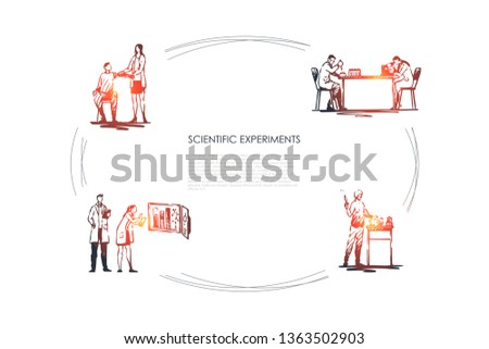 Scientific Experiment - medical workers making experiments with blood and tests in laboratory vector concept set. Hand drawn sketch isolated illustration