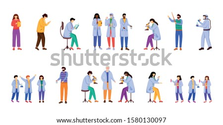 Scientific experiments flat vector illustration set. Chemistry in school. Activities for children. Conducting researches. Studying biology, chemistry isolated cartoon character on white background