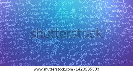 Scientific formulas with molecules .Handwritten formulas background.Letters and numbers .