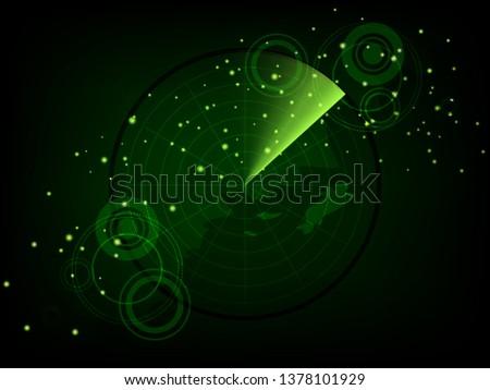 Scientific futuristic scientific interface. Abstract digital green radar screen square grid lines and map of the world. Circuit board background of  Vector illustration for your design