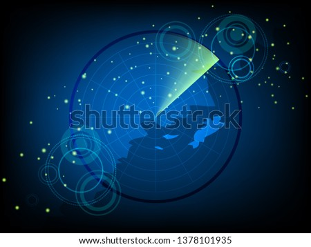 Scientific futuristic scientific interface. Abstract digital green radar screen square grid lines and map of the world. Circuit board blue background of  Vector illustration for your design