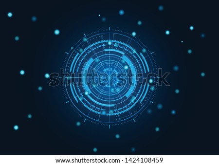 Scientific futuristic scientific interface. Abstract digital screen elements with shapes circle, lines, dots, square and dotted on dark blue Background. Vector illustration