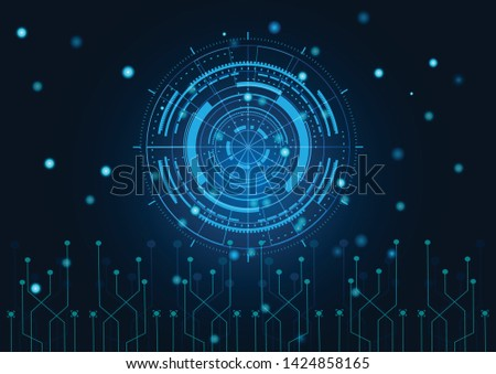Scientific futuristic scientific interface. Abstract digital screen grid lines elements with shapes circle, lines, dots, square and dotted on dark blue Background. Circuit boards. Vector illustration