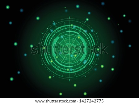 Scientific futuristic scientific interface. Abstract digital screen grid lines elements with shapes circle, lines, dots, square and dotted on dark green Background. Vector illustration