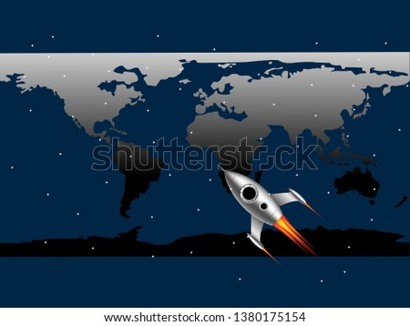 Scientific futuristic scientific interface. Abstract digital screen. the aim on monitor map of the world, on blue background. Design element Vector illustration