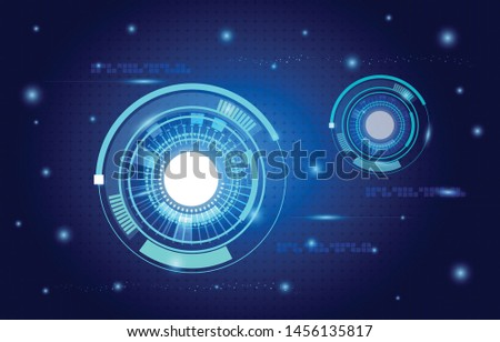 Scientific futuristic scientific interface. shape line, circle, ring, dots, star,  square. Circuit board plus on blue background of Vector illustration for your design