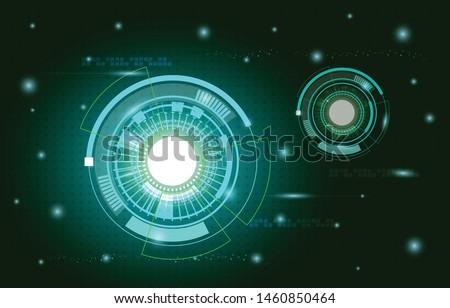 Scientific futuristic scientific interface. shape line, circle, ring, dots, star, square. Circuit board plus on dark greem background of Vector illustration for your design
