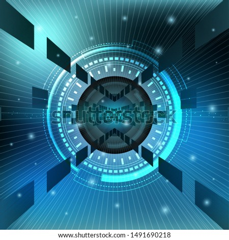 Scientific futuristic scientific interface. The concept abstract geometric elements with shapes, line, circles, dots light and radar screen. Circuit board on dark blue green technology background.