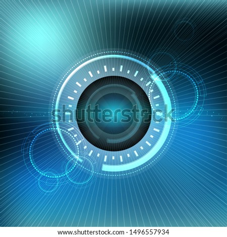 Scientific futuristic scientific interface. The concept abstract geometric elements with shapes, line, circles, dots light and radar screen. Circuit board on dark blue green technology background