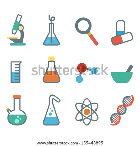 scientific icon into a flat style a set of flat icons with symbols of science and medicine