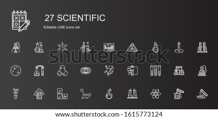 scientific icons set. Collection of scientific with atom, flask, molecules, periodic table, test tube, molecule, magnetic field, mercury. Editable and scalable scientific icons.
