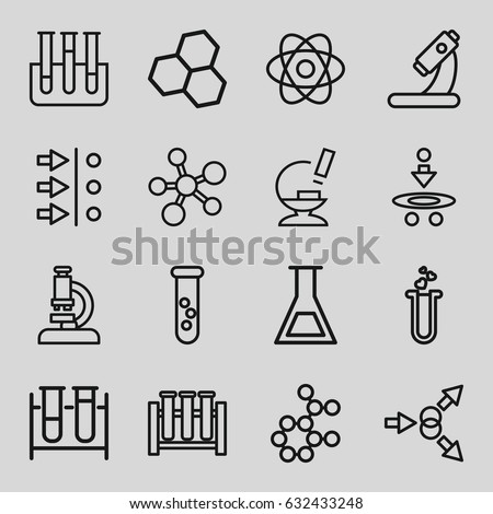 Scientific icons set. set of 16 scientific outline icons such as test tube, microscope, heart test tube, atom, atom move