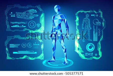scientific interface; futuristic backdrop; abstract technology background; blue digital theme; polygon man in technological looks; low poly human in teachnological looks