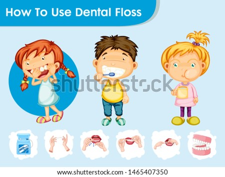 Scientific medical illustration of dental care with kids illustration