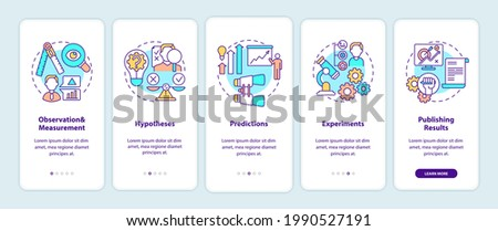 Scientific method elements onboarding mobile app page screen with concepts. Getting knowledge about world walkthrough 5 steps graphic instructions. UI vector template with RGB color illustrations Stockfoto ©