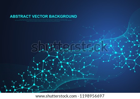 Scientific molecule background for medicine, science, technology, chemistry. Waves flow. Wallpaper or banner with a DNA molecules. Vector geometric dynamic illustration
