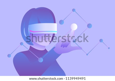 Stock Photo Scientific research and education in virtual reality. Woman wearing vr headset and touching digital interface. Vector illustration