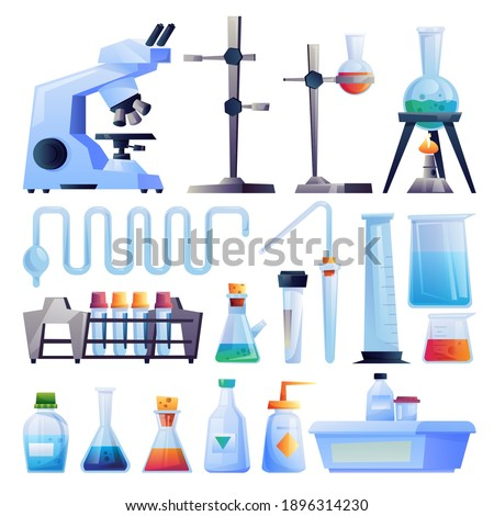 Scientific research equipment isolated cartoon set. Vector test tube holders, glass beakers flasks to hold chemical laboratory experiments. Glassware, microscope, medical pharmaceutical containers set Photo stock ©