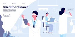 Scientific research landing. Students in white coat, chemical researchers doctors with lab equipment. Molecular engineer vector page. Laboratory scientist research experiment illustration