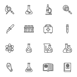 Scientific research line icons set, science outline vector symbol collection, linear style pictogram pack. Signs logo illustration. Set includes icons - laboratory equipment, test tube, bacteria virus