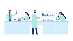 Scientific research. Scientist people wearing lab coats, science researches and chemical laboratory experiments. Chemistry clinic laboratories, microbiology pharmaceutical research vector illustration