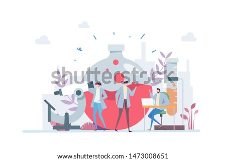 Scientific Research Vector Illustration Concept Showing scientist researching solution, Suitable for landing page, ui, web, App intro card, editorial, flyer, and banner.
