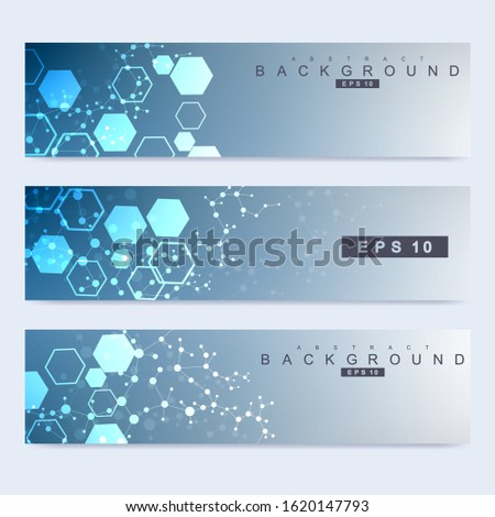 Scientific set of modern vector banners. DNA molecule structure with connected lines and dots. Scientific and technology concept. Wave flow graphic background for your design. Vector illustration.