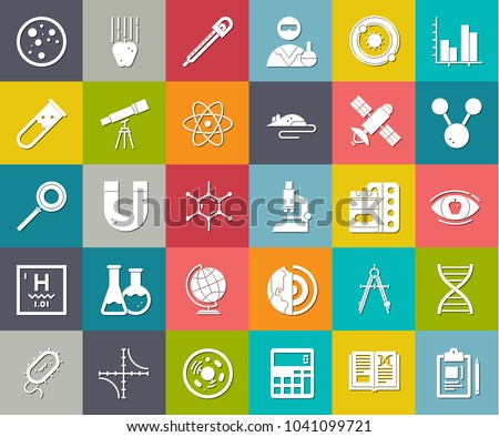 scientific study, science education and chemistry study, research medical icons