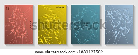 Scientific vector covers with molecular structure or nervous system cells. Curly waves connection textures. Stylish banner vector templates. Neurology scientific covers. Photo stock ©