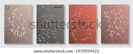 Scientific vector covers with molecular structure or nervous system cells. Overlapping waves grid textures. Subtle title page vector layouts. Scientific biotechnology covers. Foto stock ©