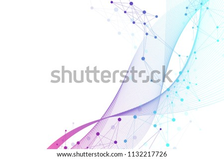 Scientific vector illustration genetic engineering and gene manipulation concept. DNA helix, DNA strand, molecule or atom, neurons. Abstract structure for Science or medical background.