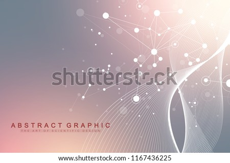 Scientific vector illustration genetic engineering and gene manipulation concept. DNA helix, DNA strand, molecule or atom, neurons. Abstract structure for Science or medical background. Wave flow.