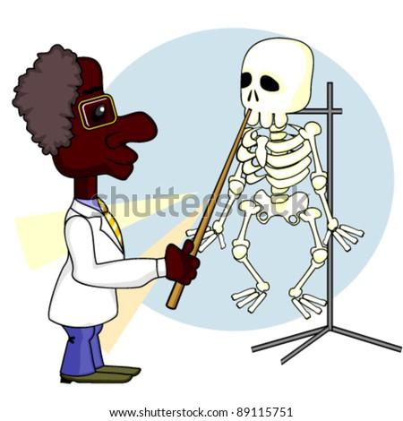 Scientist and skeleton