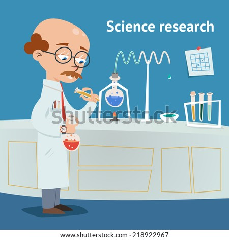 Scientist doing research in a chemical laboratory with various experiments underway as he pours a solution from a test tube into a beaker vector illustration