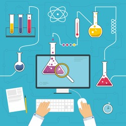 Scientist in lab making research concept