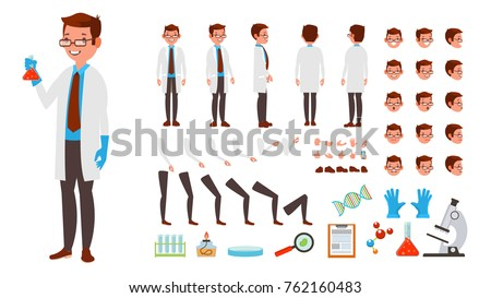 Scientist Lab Character Man Vector. Animated Creation Set. Scientist Chemist Man In White Coat. Full Length, Front, Side, Back View, Lab Accessories, Face Emotions. Isolated Flat Cartoon Illustration
