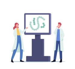 Scientist Male and Female Character in Lab Coat Working in Lab Presenting Information or Learning Streptococcus Thermophilus Bacteria in Laboratory, Biology Science. Cartoon People Vector Illustration