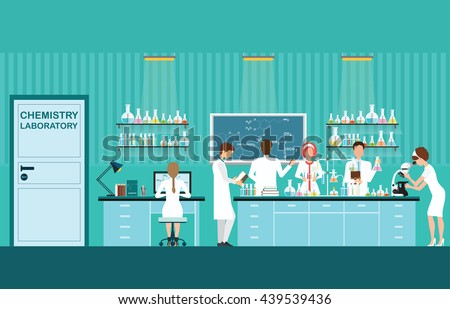 Scientist male and female making research and experiments at science lab interior , working in laboratory room, vector illustration.