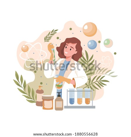Scientist or pharmacist invents natural organic formula of cosmetics vector flat illustration. Young smiling woman in lab coat holding syringe with natural herbal serum. Organic spa cosmetics concept.