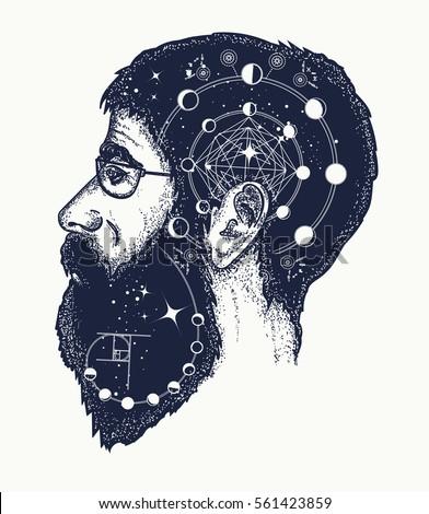 Scientist tattoo. Symbol of dreamer, creator, philosopher. Double exposure style tattoo art, portrait of hippie fashionable man t-shirt design